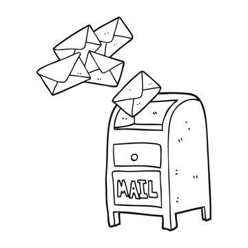 black and white cartoon mail box