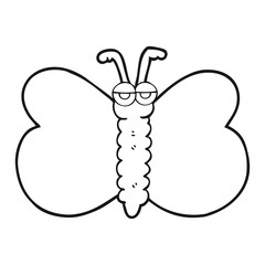 black and white cartoon butterfly