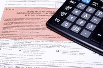 Obraz Kalkulator, zeznanie podatkowe - fototapety do salonu