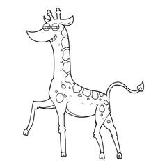 black and white cartoon giraffe