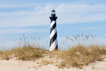 Cape Hatteras Lighthouse seen from beach NC USA