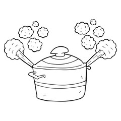 black and white cartoon steaming cooking pot