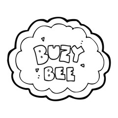 black and white cartoon buzy bee text symbol