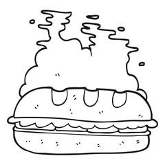 black and white cartoon huge sandwich