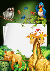 Paper design with wild animals background