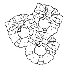 black and white cartoon christmas wreaths