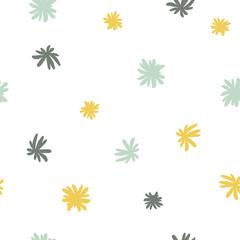 Vector seamless cute minimalistic flower pattern.