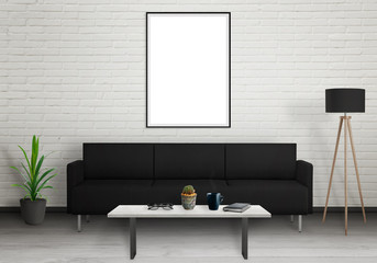 Isolated vertical art frame on white wall. Sofa, lamp, plant, glasses, book, coffee on table in room interior.