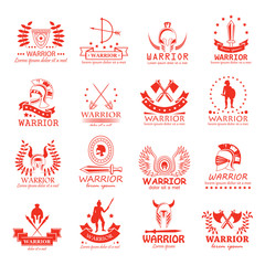 Warrior Icons Set - Vector Illustration