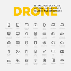 DROID ICONS. Set of 35 flat line art vector icons.
