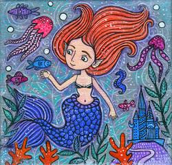 Beautiful Little Mermaid Acrylic Illustration