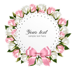 Beautiful wreath, made out of pink and white flowers with a pink