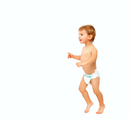 Full body of naked happy baby boy in diapers isolated on white