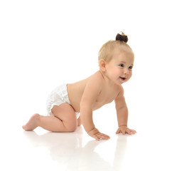 Infant child baby girl toddler crawling smiling laughing