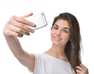 Young pretty woman make self portrait selfie