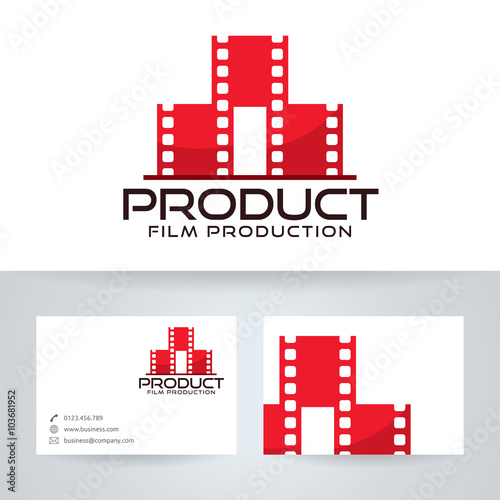Film production vector logo with business card template stock image film production vector logo with business card template colourmoves