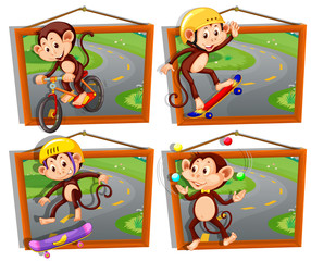 Four frames of monkeys playing sports