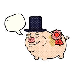 comic book speech bubble cartoon prize winning pig