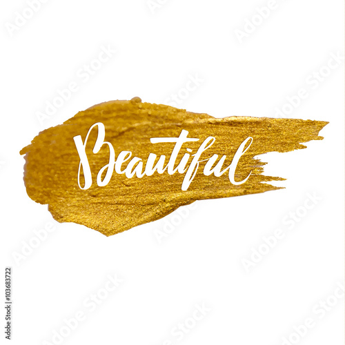 Quot brush lettering calligraphy on gold background poster