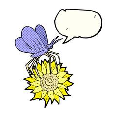 comic book speech bubble cartoon butterfly on flower