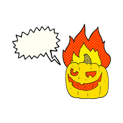 comic book speech bubble cartoon flaming halloween pumpkin