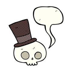 comic book speech bubble cartoon skull wearing top hat