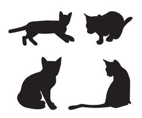 Set of cats Silhouettes isolated on a white background.