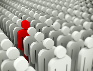 3d standing out of crowd concept
