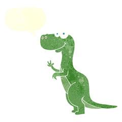 retro speech bubble cartoon dinosaur