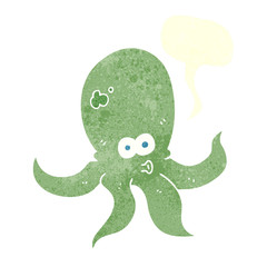retro speech bubble cartoon octopus