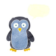 retro speech bubble cartoon penguin