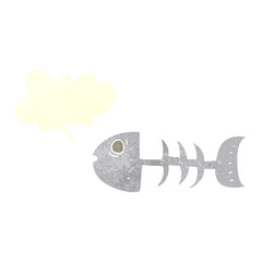 retro speech bubble cartoon fish bones