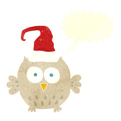 retro speech bubble cartoon owl wearing christmas hat