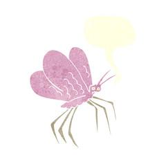 retro speech bubble cartoon butterfly