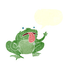 retro speech bubble cartoon frog