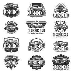 Fototapeta Vector car logo set, retro car logo template obraz
