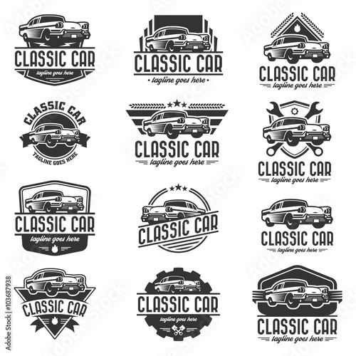 vector car logo set retro car logo template stock image and