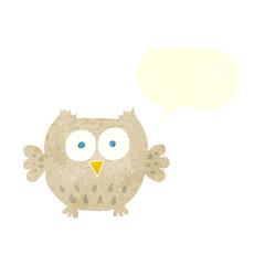 retro speech bubble cartoon happy owl