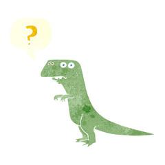 retro speech bubble cartoon confused dinosaur