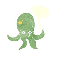 retro speech bubble cartoon octopus