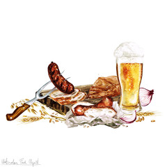 Watercolor Food - Beer and Snacks