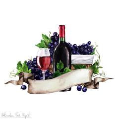 Watercolor Food - Red Wine