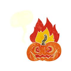 retro speech bubble cartoon flaming halloween pumpkin