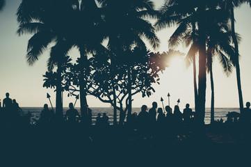 ヤシの木と夕焼けの空,ハワイ