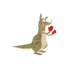 retro cartoon boxing kangaroo