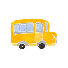 retro cartoon yellow school bus