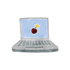 retro cartoon laptop computer with bomb symbol