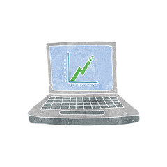 retro cartoon laptop computer with business graph