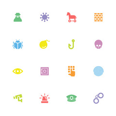colorful simple flat icon set 7 for web design, user interface (UI), infographic and mobile application (apps)