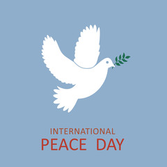 Peace dove with olive branch for International Peace Day